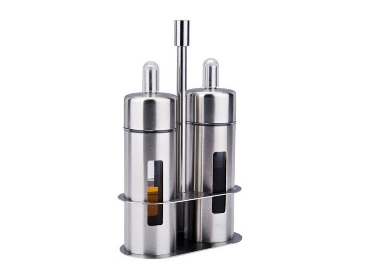 Stainless Steel Double Oil Bottle With Two Bottles Of Oil Bottle Vinegar Bottle