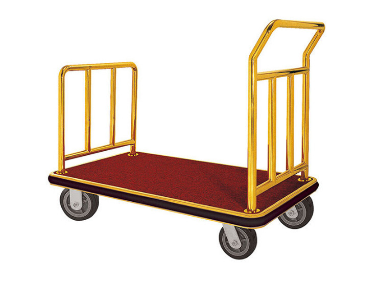 Stainless Steel Flat Trolley Hotel Lobby Supplies Titanium Baggage Service Vehicle Heavy Duty Bags