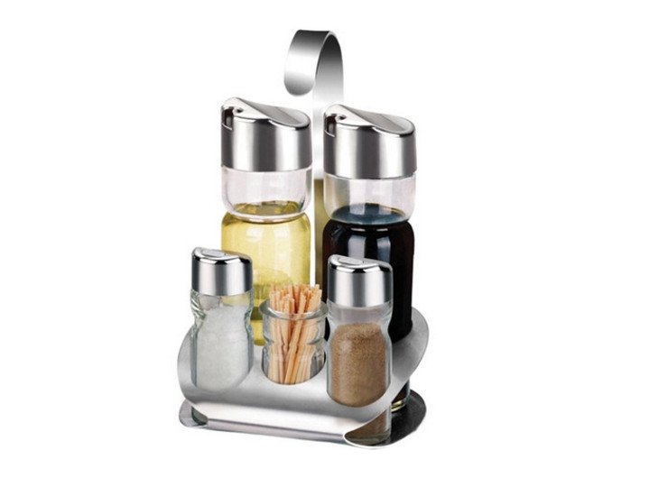 Stainless Steel Glass Seasoning Bottle Seasoning Tank Dressing Box Five Sets Of Table Table Table Dressing Bottle