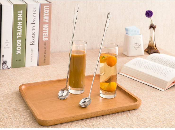 Stainless Steel Ladles Long Ice Spoon Honey Round Spoon Logo Gifts Stirring Spoon Thick Long Spoon