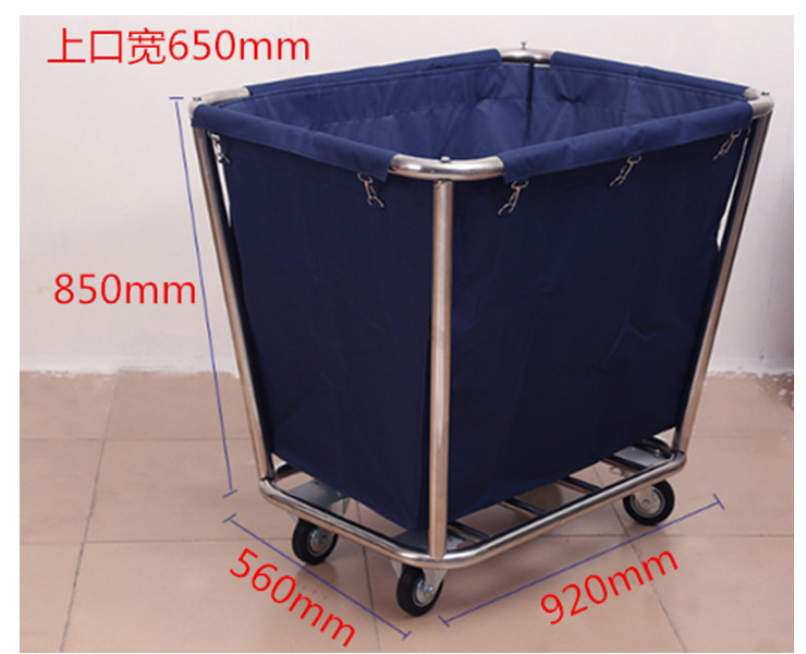 Stainless Steel Linen Car Hotel Collection Storage Car Room Cleaning Service Trolley (Self Installation)