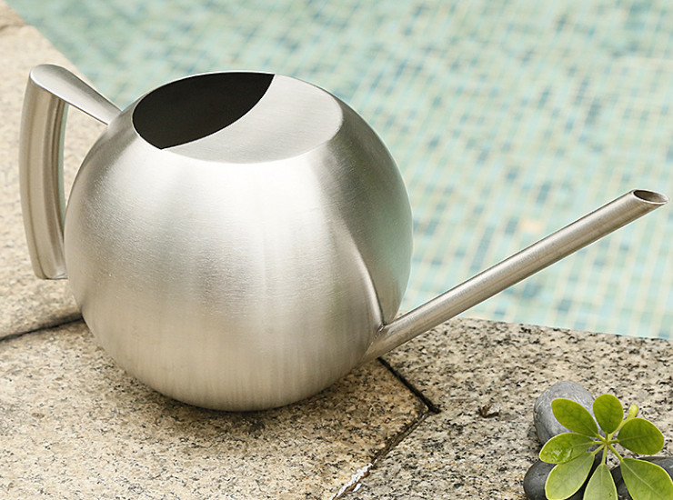 Stainless Steel Shower Device Creative Spherical Potted Plants And Plants Watering Cans European Long Mouth Watering Flower Kettle 1 Liter