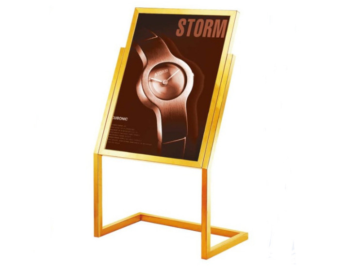 Stainless Steel Square Billboard Hotel Lobby Vertical Signboard Titanium Gold Display L-Shaped Footboard