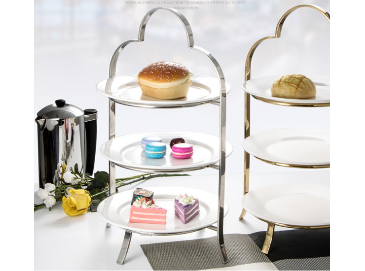 Stainless Steel Three-Layer Ceramic Snack Tray Holder European Cake Tray Fruit Tray Golden Dessert Table Decoration