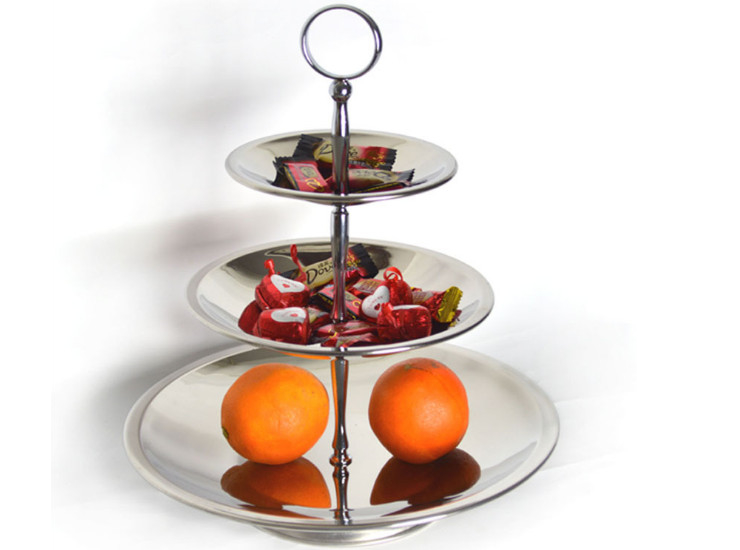 Stainless Steel Three - Layer European Candy Fruit Fruit Plate