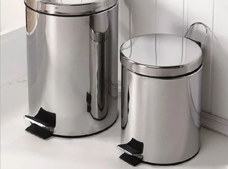 Stainless Steel Trash Can Household With Pedal Office Bathroom Supplies Round Trash Can With Flip Trash