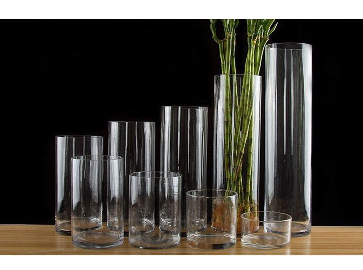 Straight Glass Vase Fish Tank Transparent Cylindrical Glass Straight Vase Large Medium Small Wedding Vase (Multi-Size Multi-Capacity)