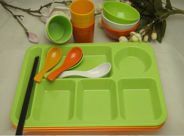 Thick Six-Dish Fast Food Plate Melamine Imitation Porcelain Dish Tableware Deepen Meal Tray Canteen School Kindergarten Rectangular Tray