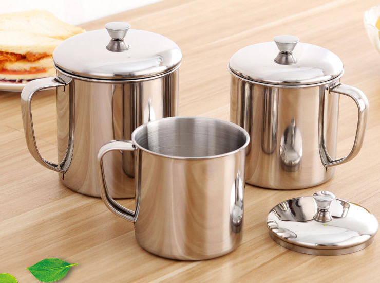Thickened Cup Stainless Steel Cup 304 Office Cup Small Tea Pot With Lid Teacup