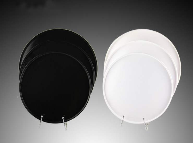Thickened Imitation Melamine Hotel Room Black White Round Tea Tray Pendant Plastic Bread Bread Wholesale