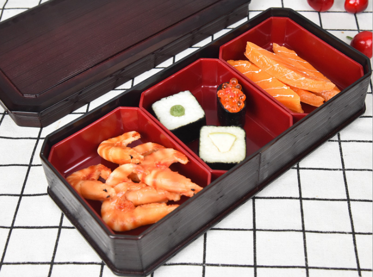 Three-Compartment Dim Sum Sushi Box Japanese-Style Compartmental Cooking Box Fruit Tolerant Lunch Box Business Fast Food Lunch Box