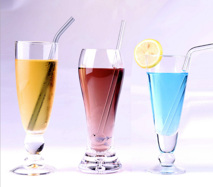 Transparent Glass Straw Color Heat Resistant High Temperature Eco-friendly Straws Simple Pregnant Women Children Juice Drink Suction