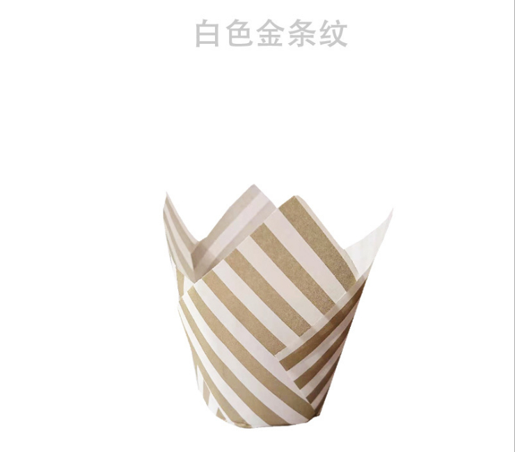 (Box/4000Pcs) Tulip Cupcake Wrapping Paper Baking-Resistant Oil-Proof Bread Paper Gold Striped Paper Cup Gold Striped Goblet (Door Delivery Included)