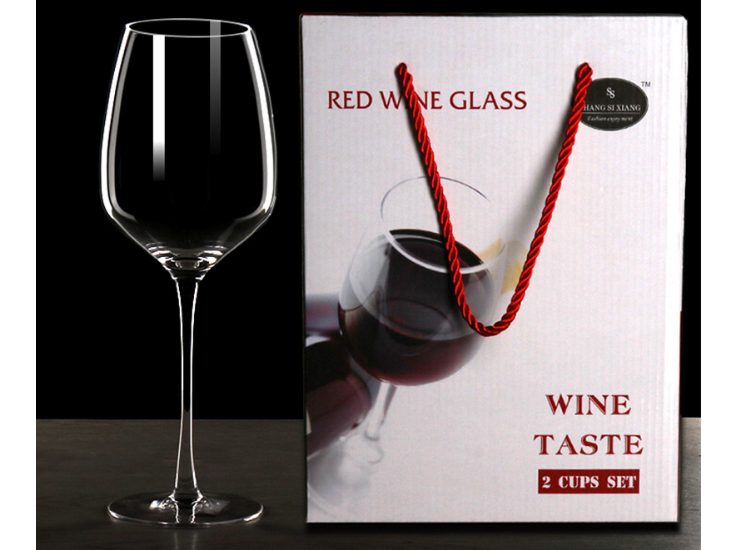 Two Gift Boxes Lead-Free Crystal Wine Glasses Tall Bordeaux Wine Glasses