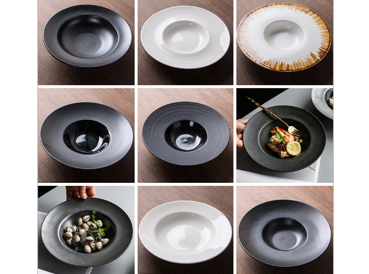 Western Plate Tableware White Black Ceramic Straw Hat Plate Hotel Tableware Salad Bowl Matte Wear-Resistant Sand Soup Plate