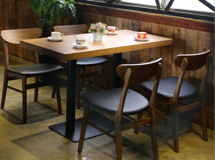 Western Restaurant Tea Shop Coffee Tables And Chairs Lounge Chairs Cafe Tables And Chairs Combined Solid Wood Dining Chair Bar Tables And Chairs (Shipping Fee Quoted Separately)