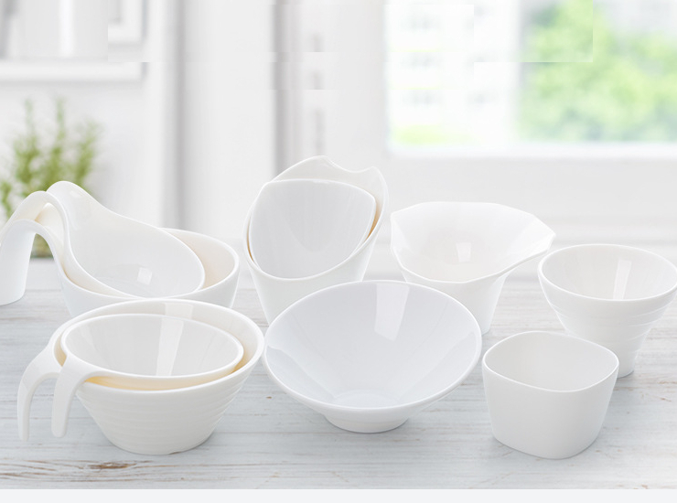 White Salad Bowl Melamine With Handle Bowl Oblique Vegetable Bowl Hot Pot Shop Special Seasoning Bowl Melamine Tableware (Multiple Styles & Sizes)