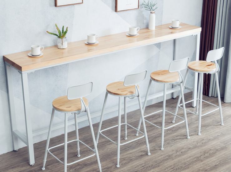 Window Lounge Bar Table And Chair Dessert Milk Tea Shop Bar Table And Chair Combination Nordic Solid Wood Bar Table (Shipping And Installation Costs Are Separately Reported)
