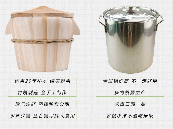 Wooden Barrel Steamed Rice Barrel Restaurant Size Steamed Tableware Kitchen Pine Bamboo Steamed Rice Bucket