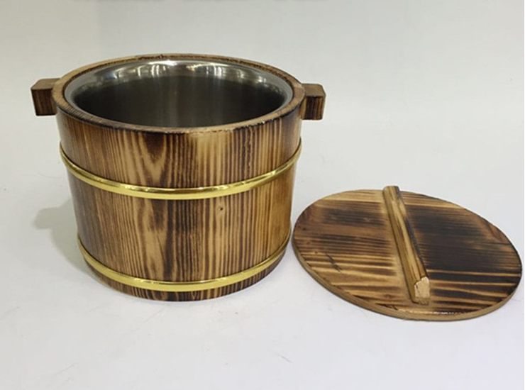 Wooden Barrels Dining Table Small Wooden Barrel Small Rice Barrel Rice Bowl Golden Side Barrel Burning Black