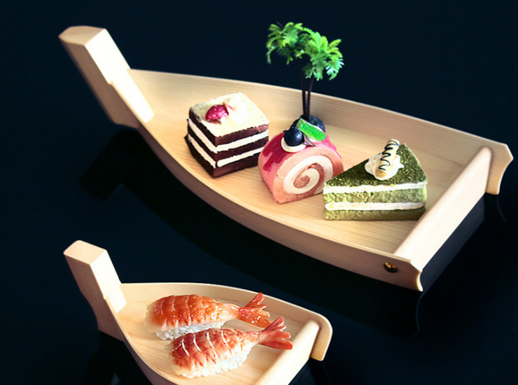 Wooden Mini Sushi Boat Sashimi Boat Simple Wooden Boat Japanese Sushi Plate Creative Japanese And Korean Swing Cake Dessert Plate (Multiple Sizes)