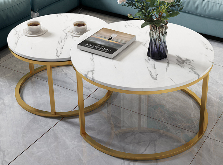 Wrought Iron Nordic Modern Light Luxury Marble Round Coffee Table Ins Style Creative Simplicity (Delivery & Installation Fee To Be Quoted Separately)