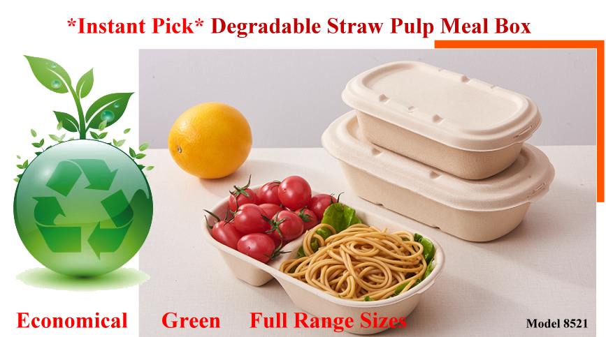 Economical Green Degradable Straw Pulp Takeaway Meal Box